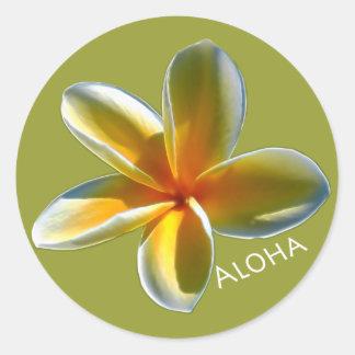 Pegatina Redonda Plumeria con hawaiana