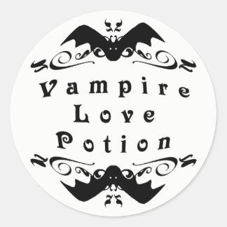 Pegatina Redonda Poción de amor del vampiro Halloween
