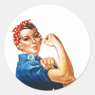 Pegatina Redonda Podemos hacerlo Rosie que las mujeres del