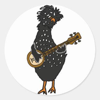 Pegatina Redonda Pollo polaco divertido que juega arte del banjo