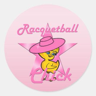 Pegatina Redonda Polluelo #8 del Racquetball