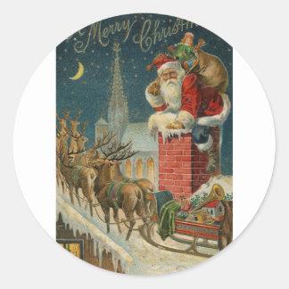 Pegatina Redonda Poster clous 1906 de Santa del vintage original