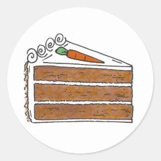 Pegatina Redonda Postre de la rebanada del pastel de capas de la