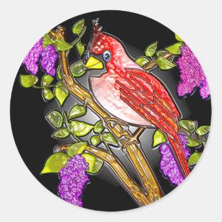 Pegatina Redonda Primer cardenal (pegatinas)