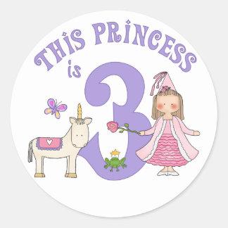 Pegatina Redonda Princesa 3ro cumpleaños del unicornio
