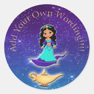 Pegatina Redonda Princesa de los pegatinas mágicos de los genios de