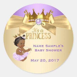 Pegatina Redonda Princesa fiesta de bienvenida al bebé de la