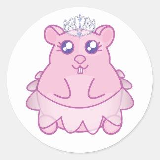 Pegatina Redonda Princesa Hamster Stickers