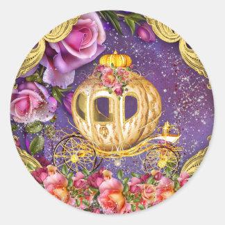 Pegatina Redonda Princesa púrpura Stickers