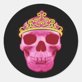 Pegatina Redonda Princesa rosada Skull