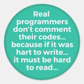 Pegatina Redonda Programadores reales