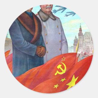Pegatina Redonda Propaganda original Mao Zedong y Joseph Stalin