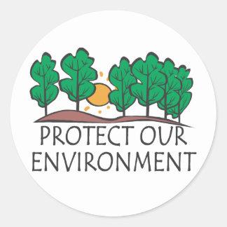 Pegatina Redonda Proteja nuestro ambiente