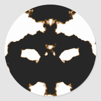Pegatina Redonda Prueba de Rorschach de una tarjeta de la mancha