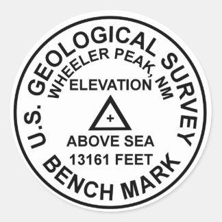 Pegatina Redonda Prueba patrón del estilo de Wheeler Peak USGS