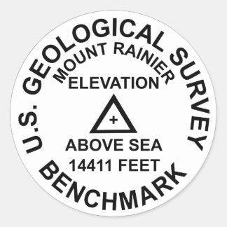 Pegatina Redonda Prueba patrón del estilo del Mt. Rainer USGS