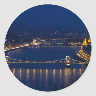 Pegatina Redonda Puente de cadena Hungría Budapest en la noche