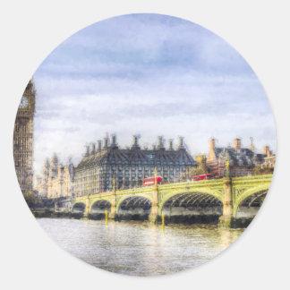 Pegatina Redonda Puente de Westminster y arte de los autobuses de