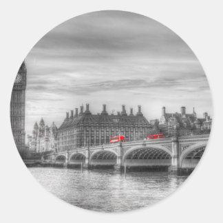 Pegatina Redonda Puente y Big Ben de Westminster