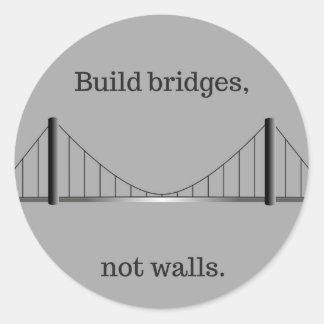 Pegatina Redonda Puentes de la estructura, no paredes. (pegatina)