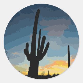 Pegatina Redonda Puesta del sol al sudoeste del cactus del Saguaro