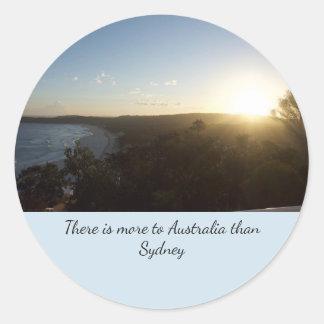 Pegatina Redonda Puesta del sol de Australia