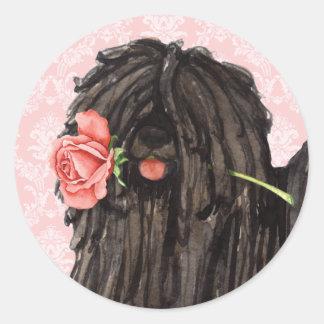 Pegatina Redonda Puli subió tarjeta del día de San Valentín