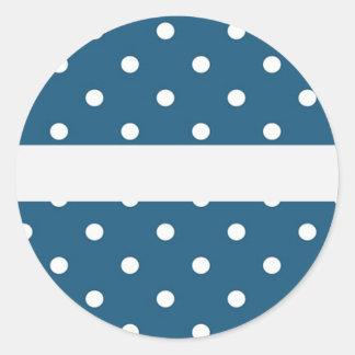 Pegatina Redonda puntos, azul y blanco, tira, elegante