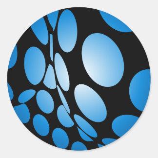 Pegatina Redonda Puntos azules deformados en negro