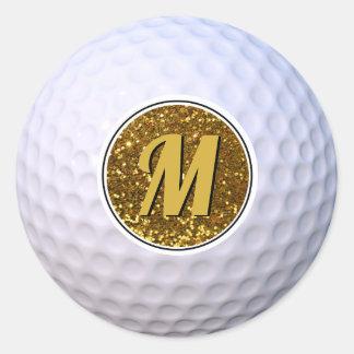 Pegatina Redonda Purpurina del oro del monograma adaptable de la