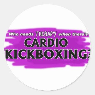 Pegatina Redonda ¿Quién necesita terapia cuando hay Kickboxing