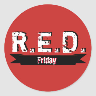 Pegatina Redonda R.E.D. Viernes recuerda cada uno desplegado