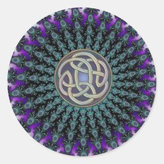 Pegatina Redonda Radiación del nudo del Celtic del Grunge de la