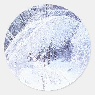 Pegatina Redonda Ramas de doblez después de la tormenta de hielo