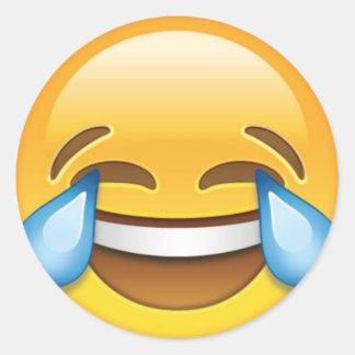 Pegatina Redonda Rasgones gritadores de risa del emoji de la