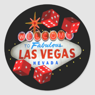 Pegatina Redonda Recepción a Las Vegas + Pegatinas de los dados