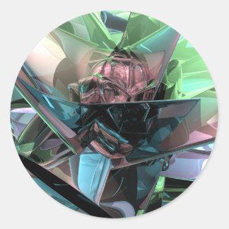 Pegatina Redonda Reflexiones coloridas 3D