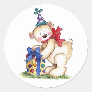 Pegatina Redonda Regalo del oso del cumpleaños