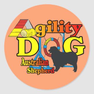 Pegatina Redonda Regalos australianos del pastor de la agilidad