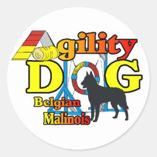 Pegatina Redonda Regalos de Malinois del belga de la agilidad