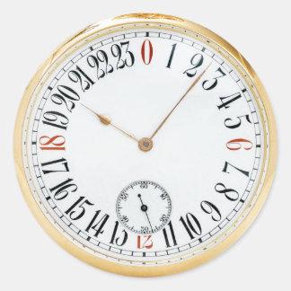 Pegatina Redonda Reloj de bolsillo antiguo del vintage