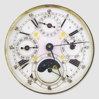 Pegatina Redonda Reloj de bolsillo de la antigüedad del reloj del