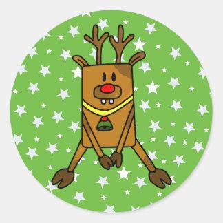 Pegatina Redonda Reno divertido con las estrellas en verde