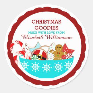 Pegatina Redonda Repostería y pastelería personalizada del navidad