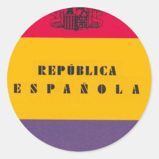 Pegatina Redonda República de la bandera de España - Bandera