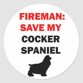 Pegatina Redonda Reserva del bombero mi perro de cocker spaniel