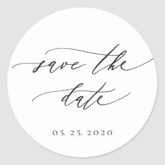 Pegatina Redonda Reserva moderna simple del boda de la caligrafía