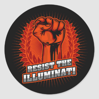 Pegatina Redonda Resista el puño aumentado naranja de Illuminati