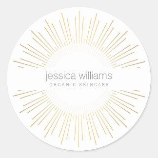 Pegatina Redonda Resplandor solar elegante del oro de la belleza