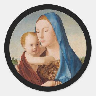 Pegatina Redonda Retrato de Maria que detiene al bebé Jesús
